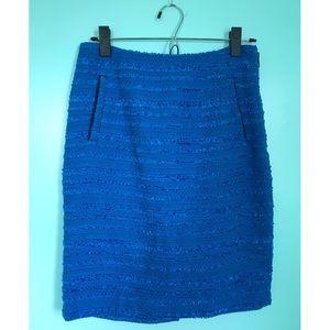 Halogen Electric Blue Tweed Pencil Skirt sz 4